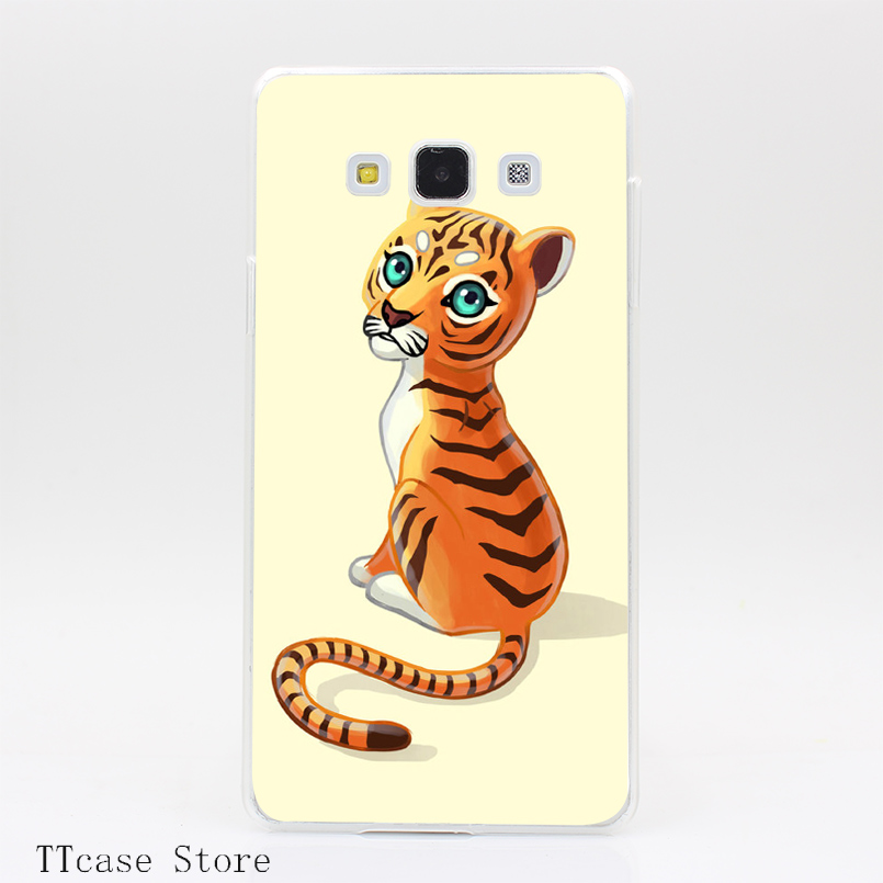 3791CA Tiger Cub Transparent Hard Cover Case for Galaxy A3 A5 A7 A8 Note 2 3 4 5 J5 J7 Grand 2 & Prime