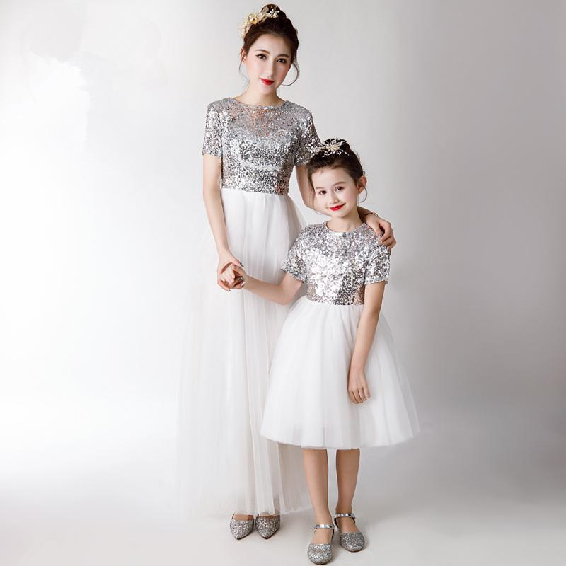 Mother Daughter Sequin Dress Flower Girls Evening Ball Gown Mom and Me Wedding Dress Family Matching Outfits Vestidos PB154