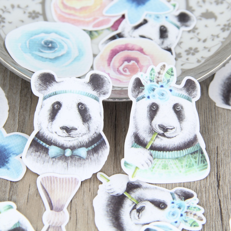 31pcs Adorable Watercolor Panda DIY Scrapbooking Sticker Cute Pandas Animal Decorative Stickers Children Gift