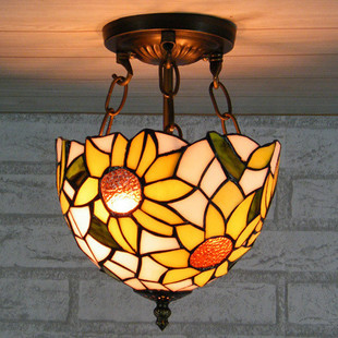 tiffany sun flower style hallway pendant light balcony Didifanni glass decorative ceiling lamp 8inch 8 inch yellow sunflowers down american tiffany glass ceiling decorated with a balcony hallway bathroom kitchen