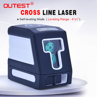 OUTEST Laser Level meter T02 green beam 2 lines Self leveling Cross laser Leveler laser Vertical Horizontal measuring meter