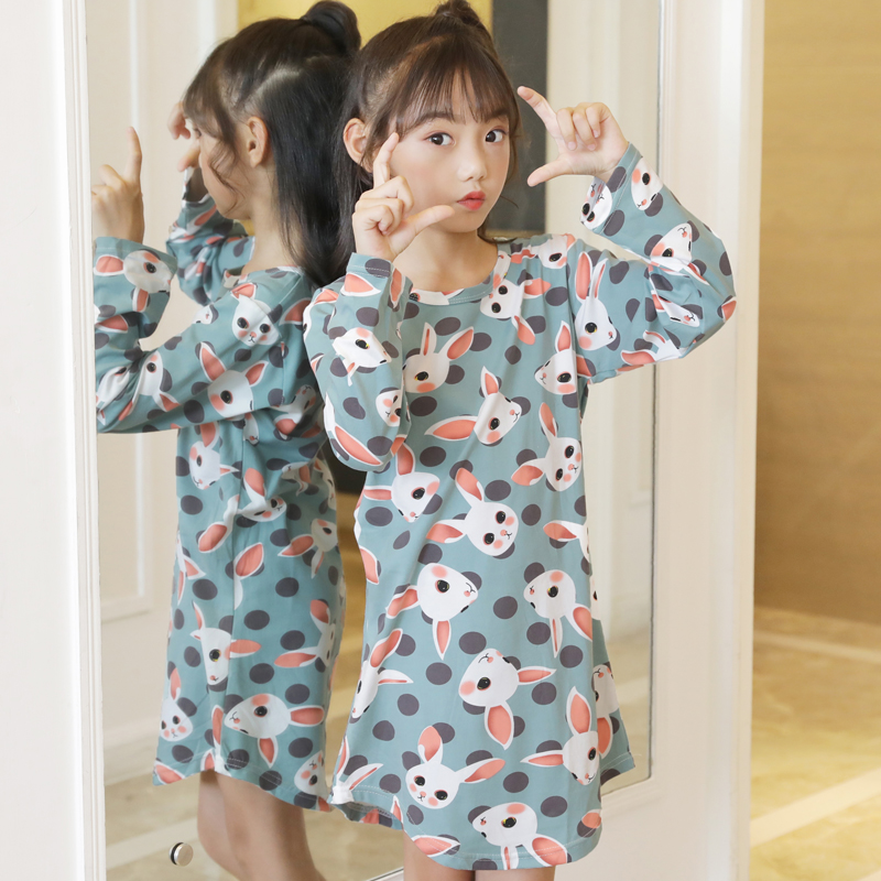 d4a5dfa7f006 2019 Big Girl Nightdress autumn winter Fashion Princess Cartoon Long Kids  SleepDress Cotton Children Nightgowns Girl ...