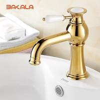 BAKALA New Deck mounted brass and ceramic faucet Bathroom Basin faucet Mixer Tap Gold Sink Faucet Bath Basin Sink Faucet B 1035M