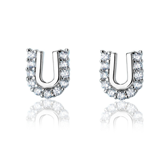 Atreus New Silver Color Tiny U Shaped Stud Earrings With Cubic Zirconia Tension For Women Geometric