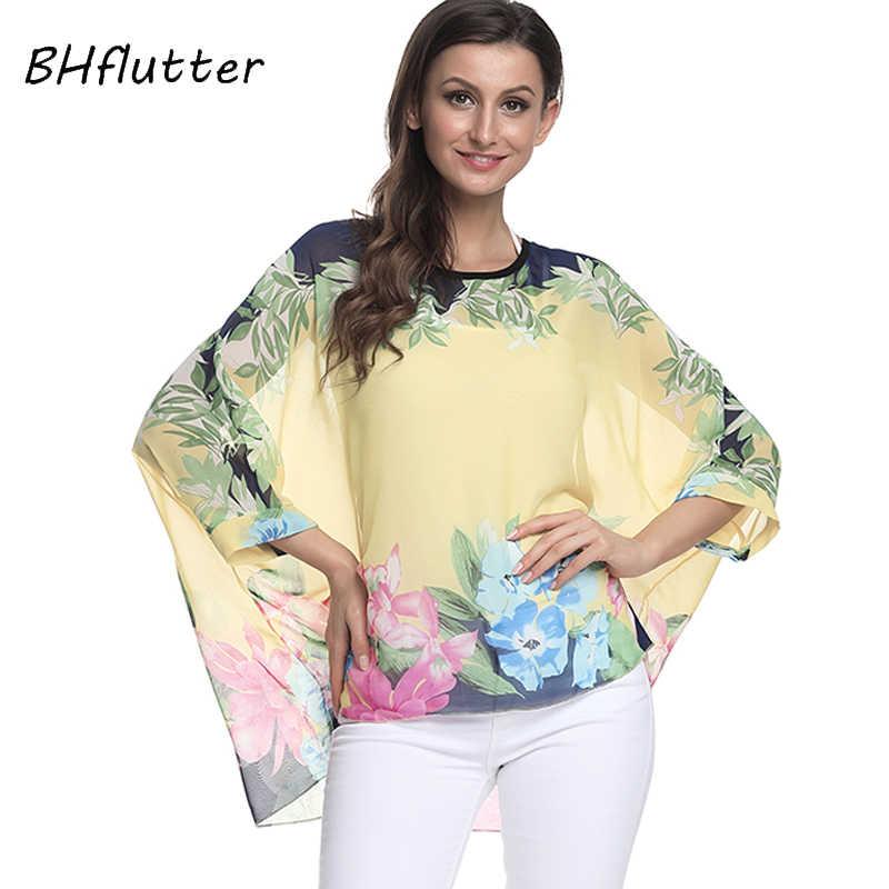 BHflutter חולצה חולצה נשים 2018 חדש עטלף פרחוני הדפסת קיץ צמרות טיז בתוספת גודל מזדמן נשים שיפון חולצות Camisas Mujer