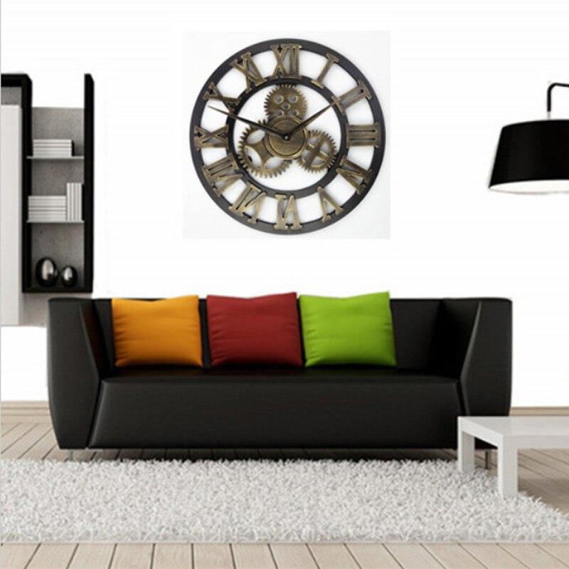 Véritable 3D vintage art décoratif grande horloge murale grande sur le mur - 5