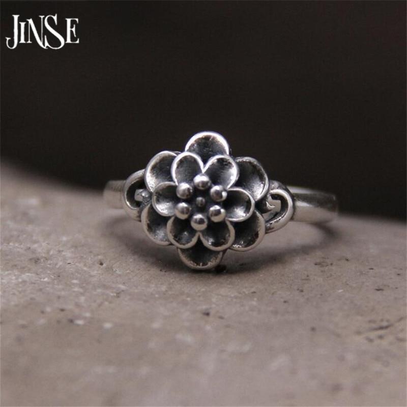 Verlegen Jinse 925 Sterling Silber Ringe Vintage Rose Blume Ring Neue Mode 100% S925 Solide Silber Ring Für Frauen Schmuck 11,10mm 2,40g Gehemmt Unsicher Befangen Selbstbewusst