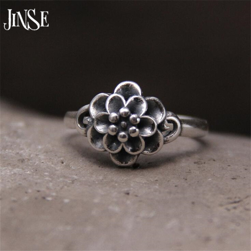 JINSE 925 Sterling Silver Rings Vintage Rose Flower New Fashion 100% S925 Solid Silver Ring for Women Jewelry 11.10mm 2.40G