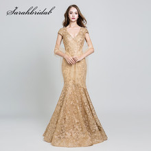 sarahbridal Elegant Evening Dresses Long Gold Lace Mermaid