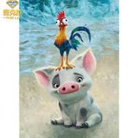 YIKELA 5D Pig And Cock Wall Sticker Diamond Painting Diamond Embroidery Full Square Animal Diamond Painting Cross Stitch Craft