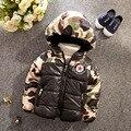 2016 Baby Boys Autumn Winter Coats Thicken Warm 3-6 Age Kids Hooded Outerwear Children Parkas children hotsale Camouflage Jacket