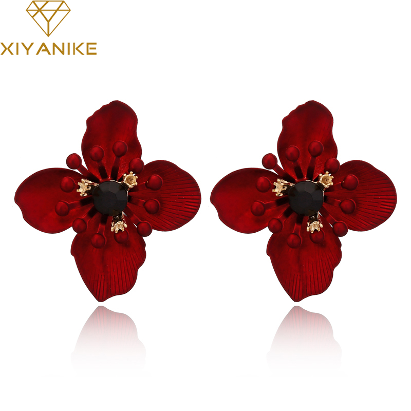 XIYANIKE 4 Colors New Bohemian Charm Flowers Stud <font><b>Earrings</b></font> for Women Gifts Pendant Statement Wedding Jewelry Brincos E1744