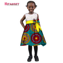 African Summer Girl Dress Kids Splice Traditional Cotton O-Neck  african Dresses Matching Africa Print Natural WYT144