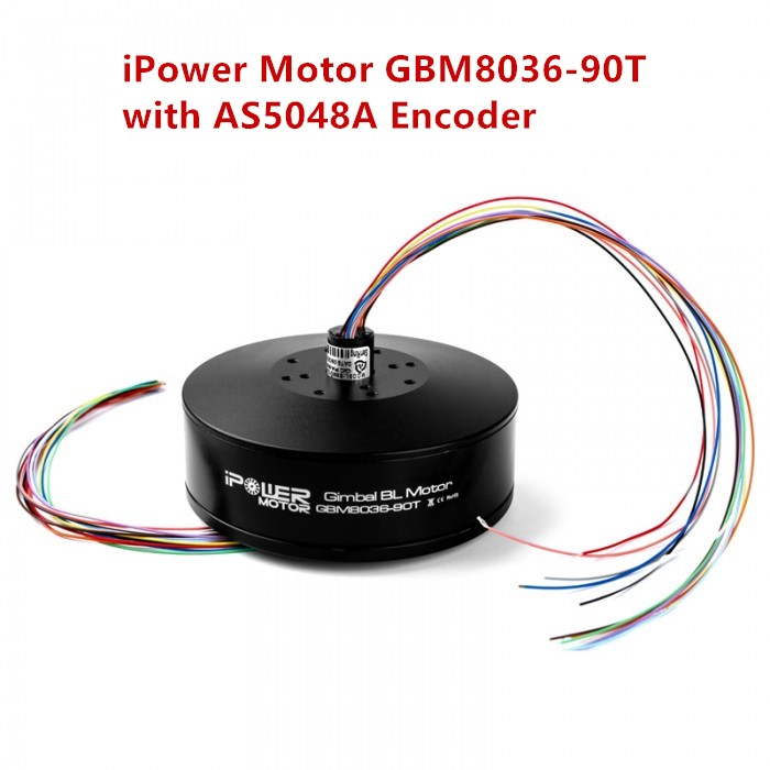 iPower GBM8036-90T Brushless Gimbal Motor w/ AS5048A Encoder Compatible w/ Slipring Large Torque for DSLR Gimbal 3pcs ipower gbm110 150t with as5048a encoder ultra high performance brushless gimbal motor