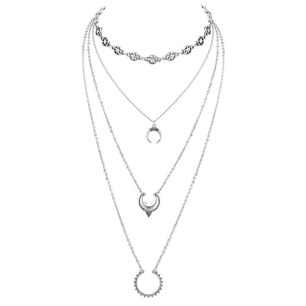 bef823ad7069 KMVEXO Vintage Silver Stars Gargantillas Collares Moda Múltiples Capas de  Luna Colgante Collar Declaración Joyería Bohemia para Mujeres. 1 2 3 4 ...