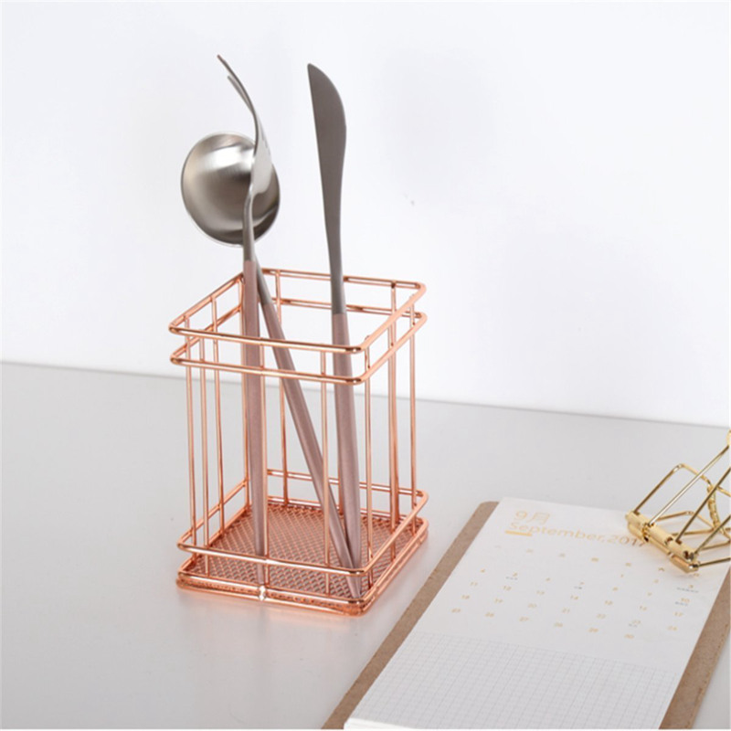 Rose Gold Wire Net Pencil / Pen Cup Square Iron Mesh Pen / Pencil Cup Stationery Organizer Desk Sorter For Office Home School