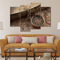 Small Compass Tied By Rope On Map Wall Art Painting Pictures Print On Canvas Art The