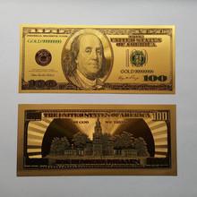 50 sztuk partia USD 100 złota folia dolar banknotów złota pieniądze papierowe kolekcje prezent rzemiosło tanie tanio NatureBell Amerykański styl Z tworzywa sztucznego Ludzi Gold banknote