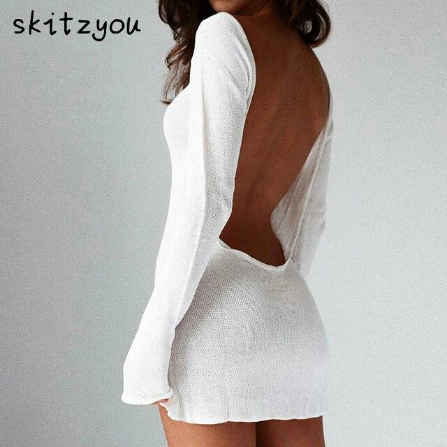 0aeb3627075 skitzyou Long Sleeve Sexy Backless White Autumn Women Knit Dress O Neck  Slim Mini Party Winter