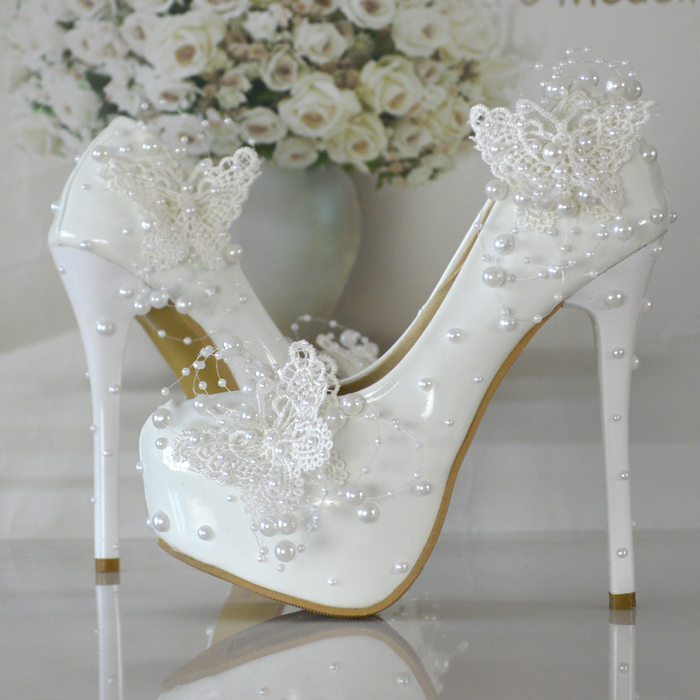 Online Shop 2016 NEW Butterfly Pearl Wedding Shoes Bridal Lace Pump
