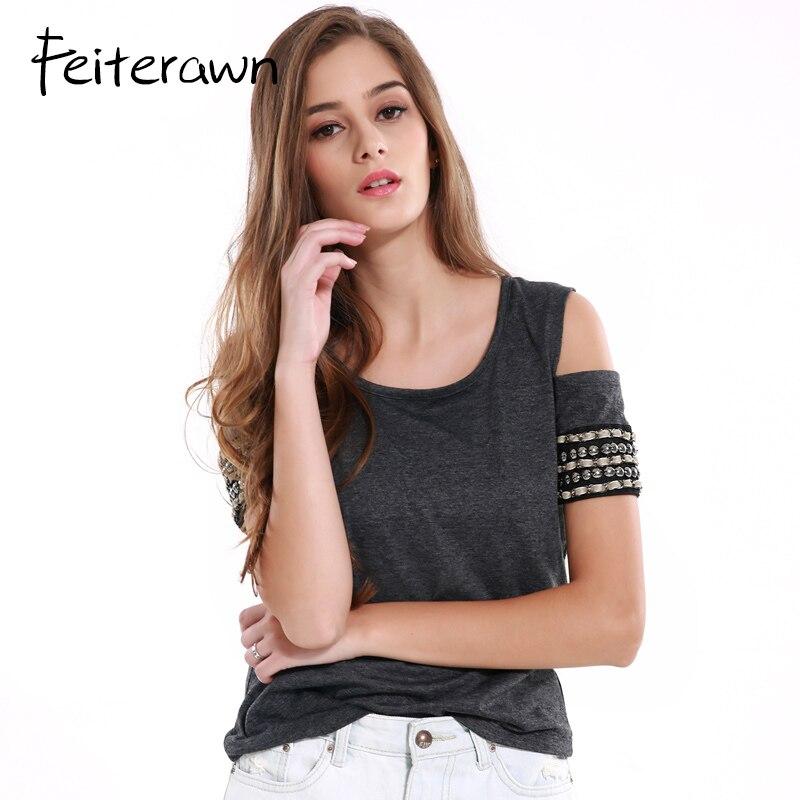Feiterawn Summer Knitted Women Tops Dark Gray Rivet T Shirt Female Pullover Off Shoulder Crochet Beading