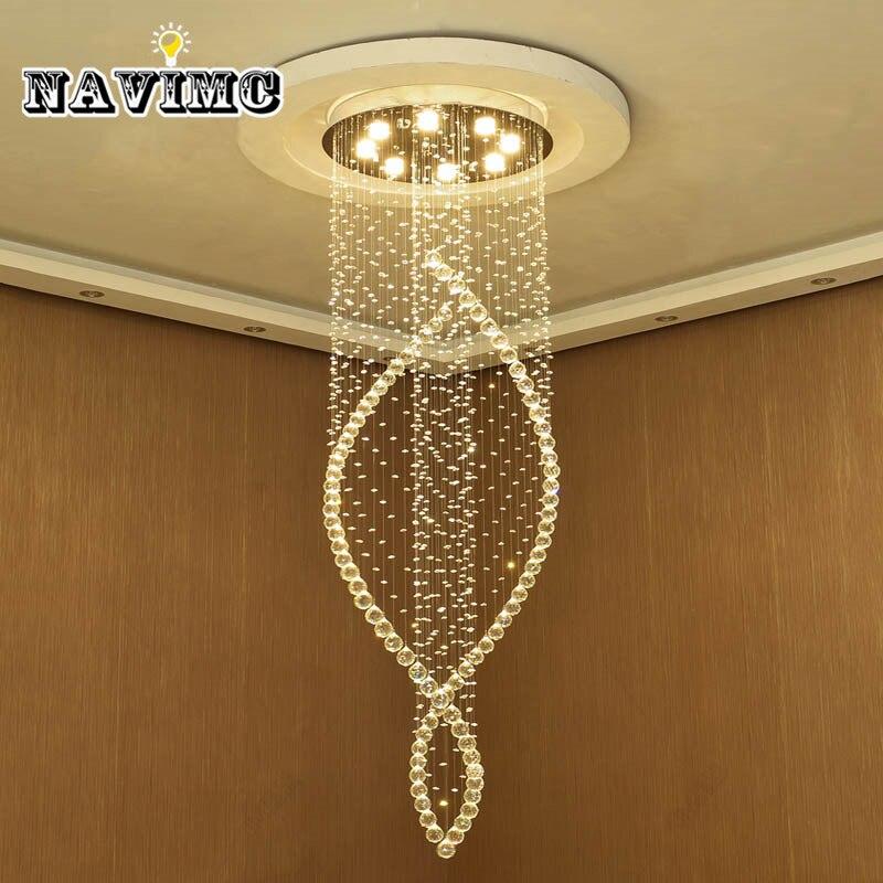 Современная хрустальная длинная Люстра для гостиной, виллы, отеля, креативная вращающаяся лестничная люстра