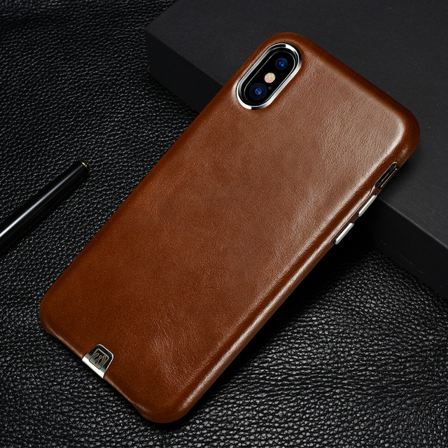 Original Luxury Vintage Genuine Leather Case For Apple iPhone X Slim Back  Cover Metal Element Cell Phone Cases For iPhone X 538a68fc3