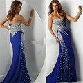 Abendkleid 2017 Nova Moda Real Amostra Querida Sereia de Cetim Azul Royal Longo Vestido de Noite Vestidos de Baile de Strass 2017