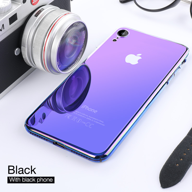 CAFELE Luxury Aurora Case For IPhone Xr XS XS Max XSMax X 10 Soft Edge + Hard PC Backing Cover Transparent Gradient Phone Case