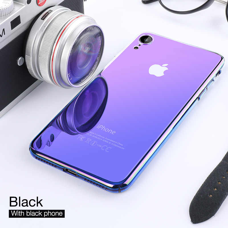 CAFELE Luxury Aurora Case for iPhone Xr XS XS Max XSMax Soft edge + Hard PC Backing Cover Transparent Gradient Phone Case