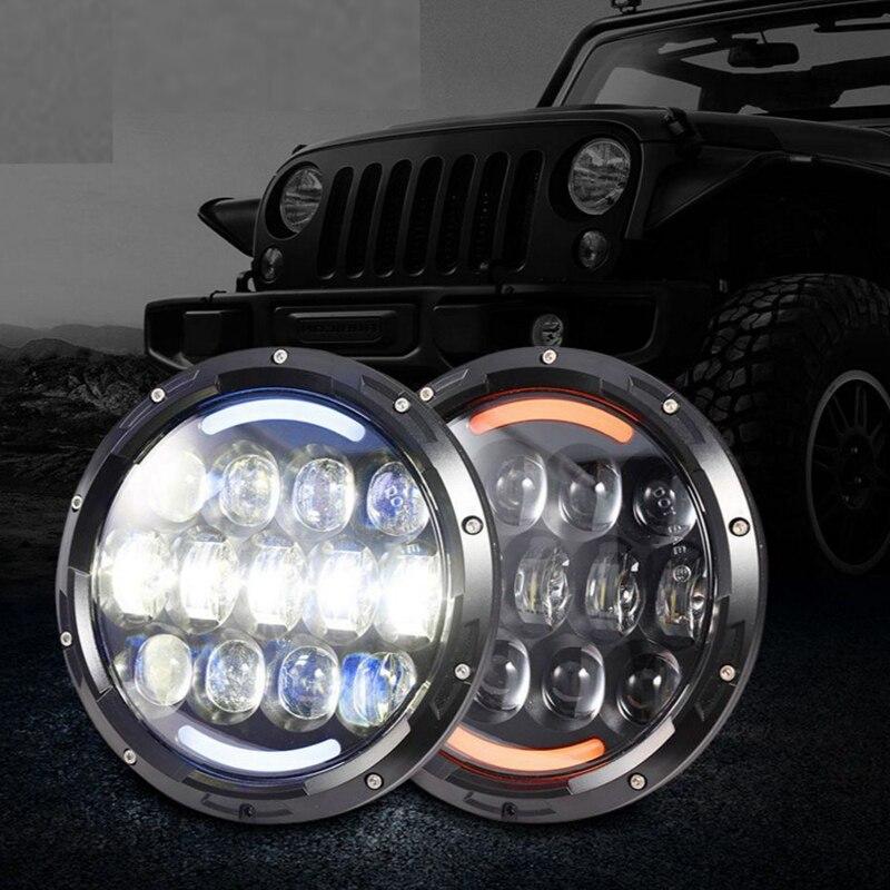 TNOOG 105 W 7 pouces voiture style phare led pour UAZ Hunter salut/Lo faisceau led phare automatique avec signe DOT E9 pour Jeep Wrangler