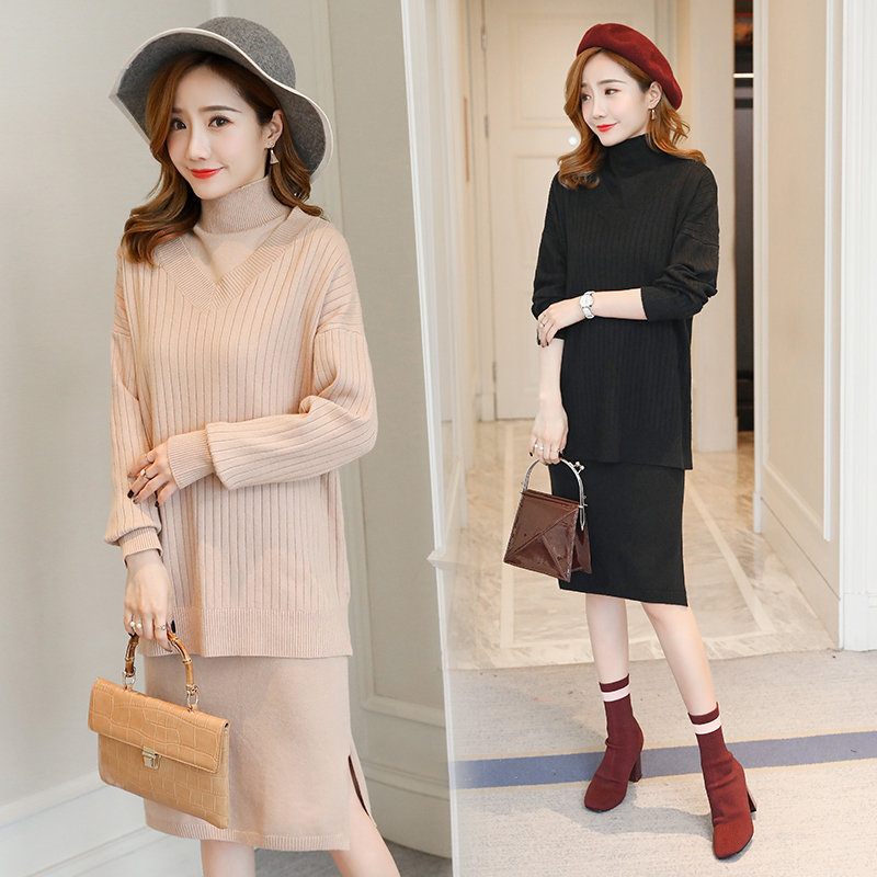 2PCS/Set 2018 Autumn Winter Fashion Knitted Maternity Sweater Dress Turtleneck Formal Pregnacy Clothes for Pregnant Women autumn winter female long wool knitted dresses turtleneck slim lady accept waist package hip pullovers sweater dress for women