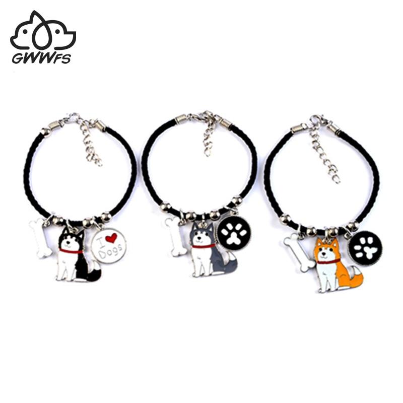 Pulseras de encanto de husky siberiano para niñas, mujeres, hombres, cadena de cuerda, aleación de color plateado, colgante de perro mascota, pulsera de mujer para hombre