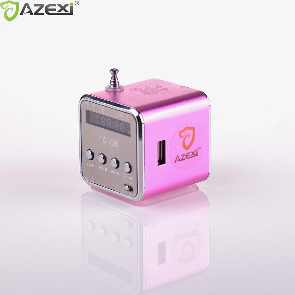 Td-v26 digital Radios mini altavoz portátil Radios receptor FM batería recargable ayuda sd/TF music