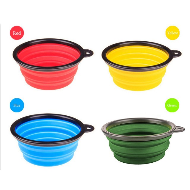 New Collapsible foldable silicone dog bowl candy color outdoor travel portable puppy doogie food container feeder dish on sale 3