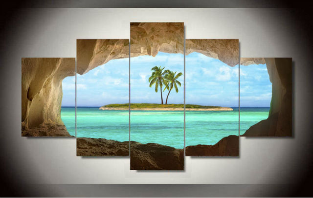 5 Panel Canvas Seacape Living Rooms Set Wall Painting Print On