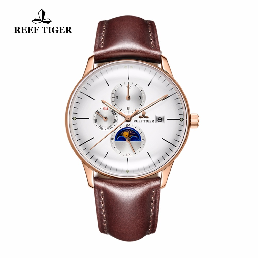Reef Tiger/RT Fashion Casual Watches for Men Water Resistant Rose Gold Brown Leather Strap Automatic Watches Date Day RGA1653 вьетнамки reef day prints palm real teal