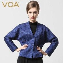 VOA high-end spandex silk satin Jacquard female short paragraph bat sleeved short jacket M5277