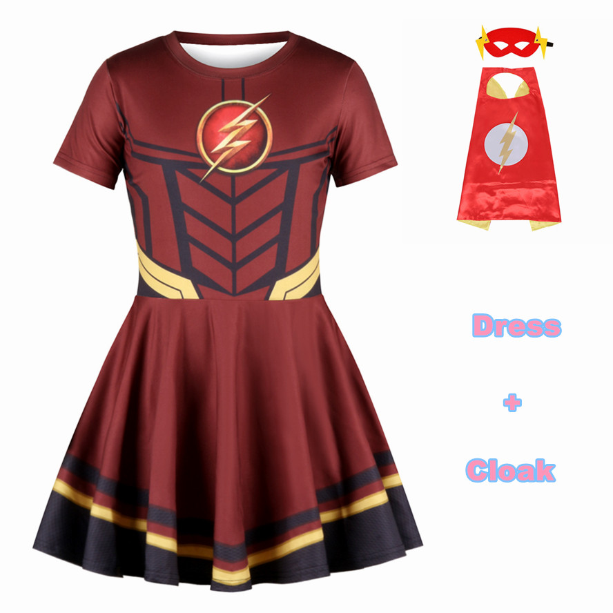 Costume The Avengers Cosplay Costume Superhero Dress great Girls Captain America Dress The Flash Princess Child Dress Halloween