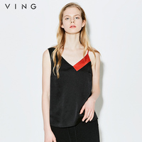VING Funny Tanks 2016 Summer Wommen Chiffon Contrast Color Sling Tank