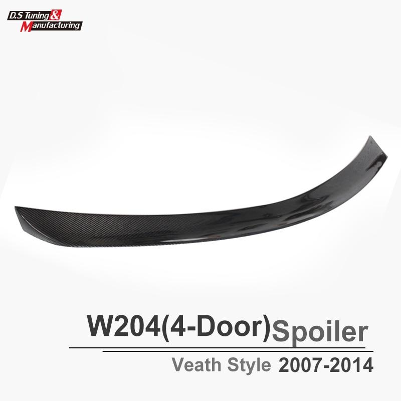 Mercedes W204 Veath Style Spoiler For C Class W204 4 - Door Sedan Carbon Fiber Rear Trunk Spoiler Wings for mercedes w213 spoiler e class 4 door sedan e200 e220 e250 e300 carbon fiber rear trunk spoiler wings e63 style 2016 up