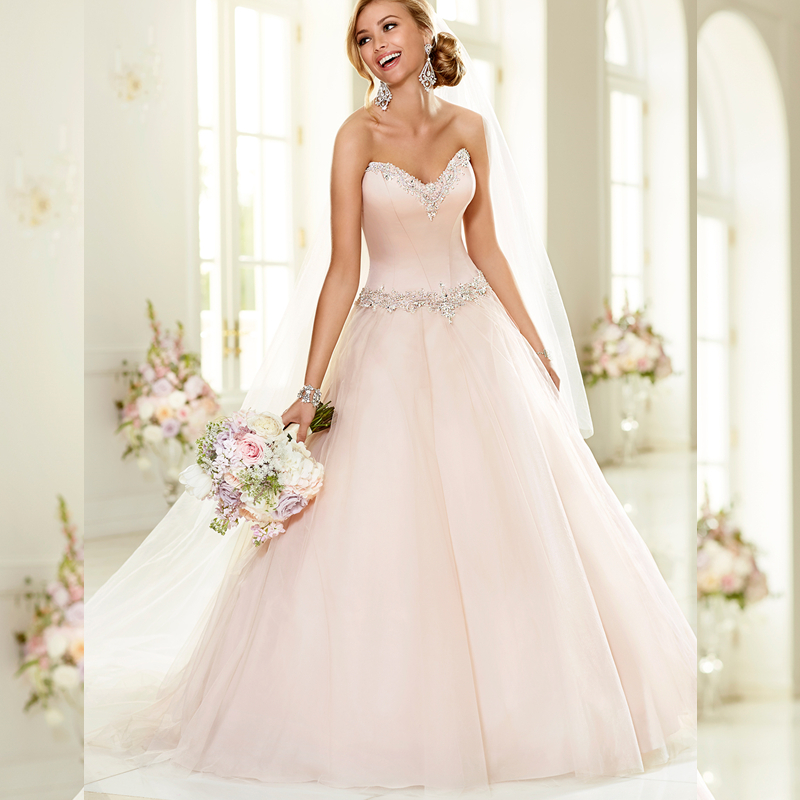 Designer Ball Gown Wedding Dresses Pink Satin Corset Tulle