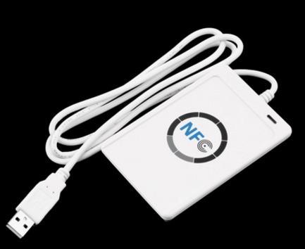 Tüketici Elektroniği'ten Şarj Cihazları'de NFC ACR122U RFID akıllı kart okuyucu yazar fotokopi teksir yazılabilir klon yazılım USB S50 13.56mhz ISO/IEC18092 + 5 adet M1 kartları title=