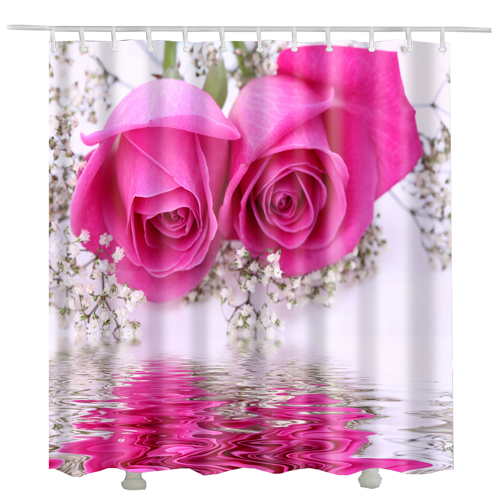 Lily Rose Flower Heart Bathroom Curtain Styles Polyester Cortinas De