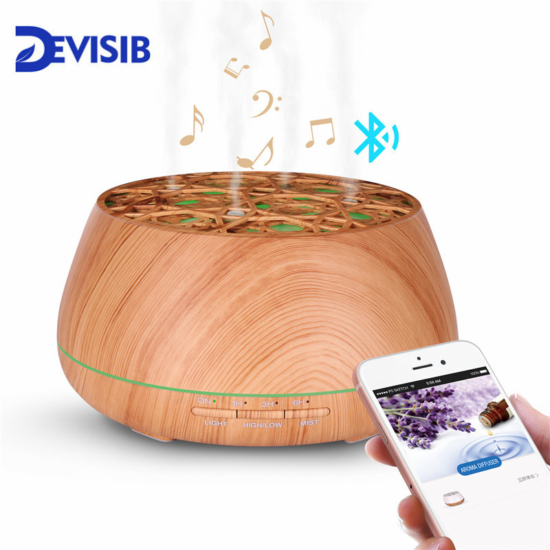 DEVISIB Bluetooth Speaker Aroma Essential Oil Diffuser Waterless Auto Shut off 7 Color Changing LED Lights Ultrasonic Humidifier