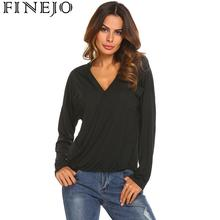 FINEJO 2019 Long Sleeve T-Shirt Women Casual Tops Tee Shirt Femme Solid Sexy V-Neck Female T Shirts Street Office Blusas Mujer v neck casual t shirt women long sleeve harajuku tee shirt femme solid streetwear female t shirts tops 2019 camiseta feminina