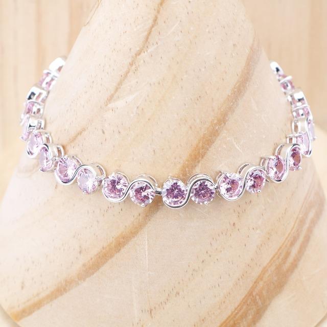 Armbånd for kvinner Cute runde rosa Cubic Zirconia Stones