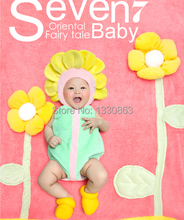 Soft newborn Baby Costume Photography Prop Cashmere wool Sunflower Infant Girl and Boy Knit Crochet free shipping