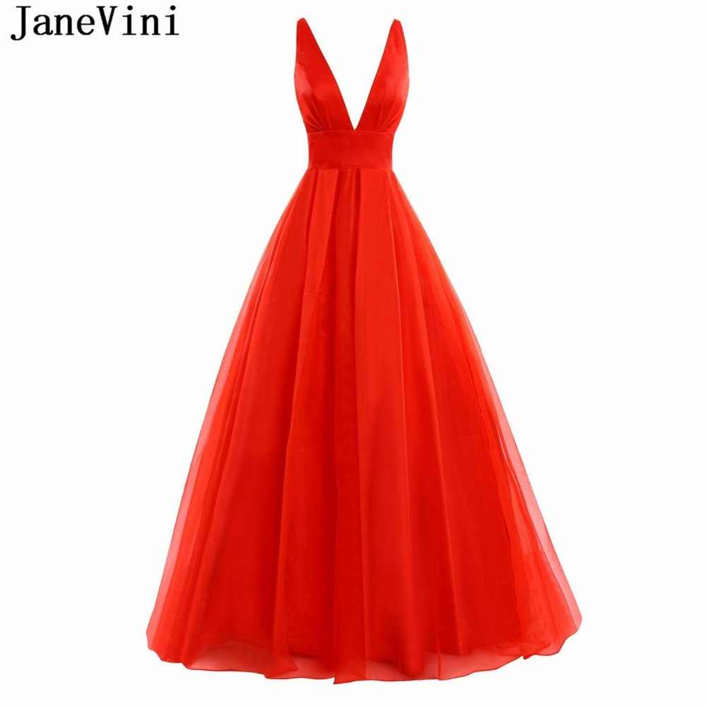 JaneVini 2018 Simple Red Tulle Long   Bridesmaid     Dresses   A Line Sexy Deep V Neck Backless Sweep Train Women Wedding Party   Dress