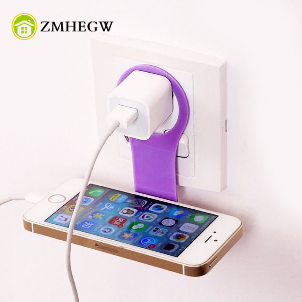 2Pcs Foldable Cell Phone Wall Charger Hanger Cradle Universal Holder Hanging Stand Rack Shelf Cell Phone hook Bracket Support Сотовый телефон